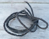 Antique French 1900/1950 Handmade hematite beaded cable/wire/canetille de perles /timeworn