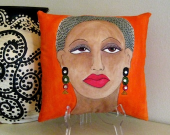 MAYA PILLOW, hand painted pillow, girlfriend gift, deep orange, maya angelou quote, 8 in X 8in, rhinestones, African American woman
