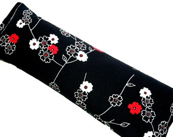 Eye Pillow, Eye Mask, Hot Cold Microwave Pack, Black White Zen Floral - Flaxseed Lavender - READY to SHIP