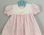 80s Pale Pink and White Floral Baby Dress 6 months