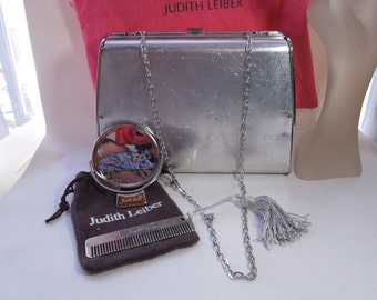 Large Vintage Judith Lieber Purse shell with chain, purse mirror and comb with dust covers  #12