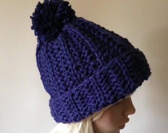 Chunky Knit Hat  Pom Pom removable Women's Beanie Blue Vegan - The Saranac Hat, Free USA Shipping
