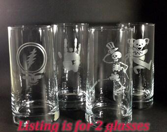 Grateful Dead Glass Etched Pint Beer Tumbler 16oz Set of 2 Glasses