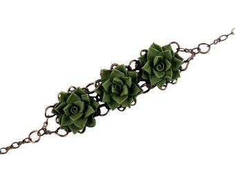 Three Succulent Vintage Style Bracelet - Trio Succulent Jewelry, Succulents Filigree Bracelet