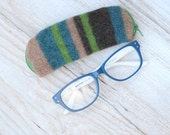 Felted Wool Glasses Case Colorful Patchwork Glasses Case in Blue Greens and Camel Stripes