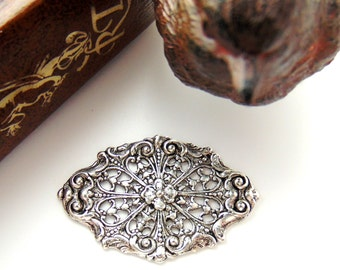 SILVER 2 Floral Filigree Antique Silver Ox Brass Stamping - Jewelry Findings (CA-3071 B)  #