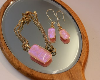 Rose Pink Ice Blue Necklace and Drop Earring Set, Gold wire wrap, 12k gold, necklace, earrings