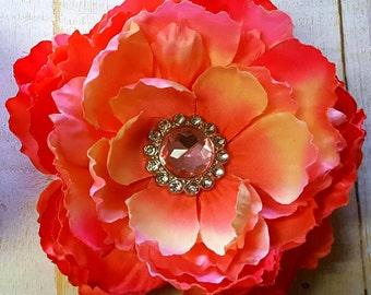 "Coral Hair Clip Peach Flower Clip Pink Flower Clip Orange Hair Clip 5"" Peony Hair Clip Rhinestone Hair Flower Wedding Bridesmaid Flower Girl"