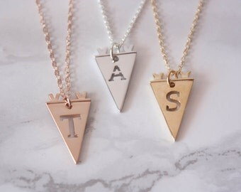 Initial Pennant Pendant / Custom Pennant / Initial Necklace / Personalized Jewelry / Customized Gifts / Pennant / Small Pendant