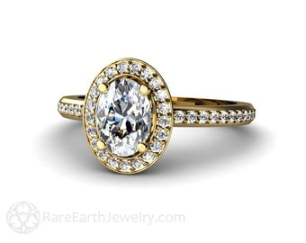 Oval White Sapphire Engagement Ring Diamond Halo 14K 18K Gold or Platinum Custom Bridal Jewelry