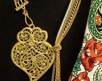 Portugal filigree Heart of Viana sliding necklace Folk