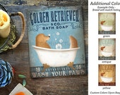 Golden Retriever dog bath soap Company artwork on gallery wrapped canvas by Stephen Fowler