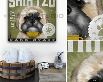 Shih Tzu Coffee Company dog roast graphic illustration on gallery wrapped canvas by Stephen Fowler