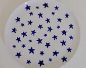 WINTER SALE Stars Porcelain Plate
