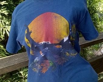 Rare 70s Surf Tee, Surfer Graphic T Shirt, sz Medium, Tight Fit, Hang Ten Motif, Not perfect but COOL, Mens Small, Ladies Medium
