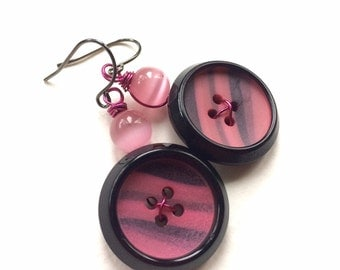 Pink and Black Vintage Button Earrings- Fun Stripes