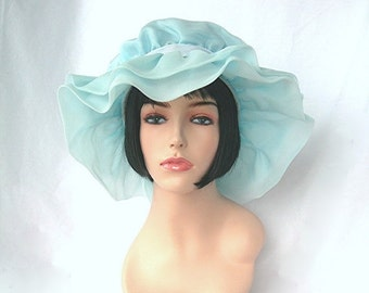 Vintage Hat, Bridesmaid, Pale Blue Chiffon, Union Tag, Made in America, Halloween Costume, School Plays, Theater, Kentucky Derby