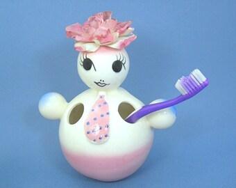 Novelty Ceramic Doll Child's Toothbrush Holder, Vintage 1950s, White Pink Blue Figure, Vase, Collectible Kitsch, Knickknack