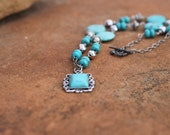 Rustic Turquoise Boho Necklace Wire Wrapped with Turquoise Pendant