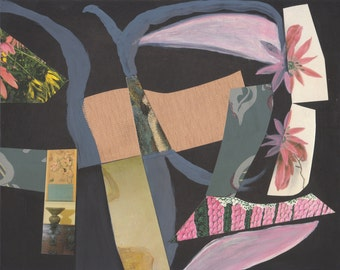 Original Modern Art Collage, Floral Boogie Woogie, Mixed Media
