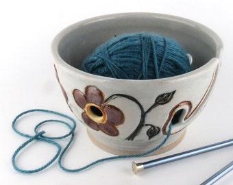 Ceramic Knitting / Crochet Yarn Bowl - White with Red Flowers- Handmade Wheel Thrown Pottery