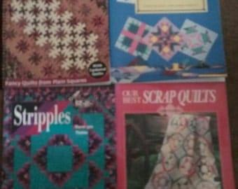 4 Quilt Books - Square Dance, Quilts,Quilts,Quilts, Stripples, Best Scrap Quilts