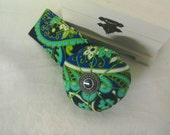 Wrist  Pin Cushion -    Blues and Greens Cotton Print -  Handmade