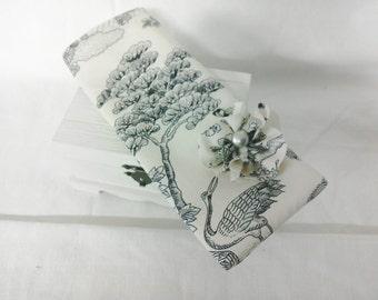 Eyeglass Case -  Cream Chinoiserie Cotton Print - Handmade