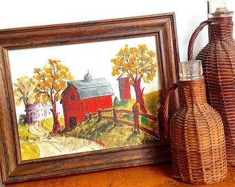 Down on the Farm...  Vintage Canvas Barn Silo Farmhouse Art Artwork