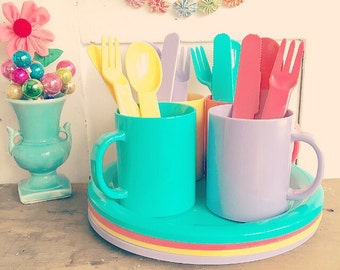 A Rainbow of Colors... Vintage Picnic Plastic Cups Plates Utensils Serving Forks Spoons Knives Tablecloth Complete Set Camping Dinner