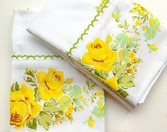 SWEET DREAMS... Two Vintage Yellow Cabbage Roses Floral Pillowcases Pillow Cases Matching Pair New Old Stock