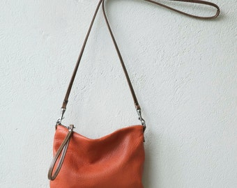sale colors Wristlet Clutch small - crossbody bag - with clip on strap - small leather bag - select leather color in drop down menu