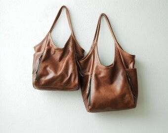 Seven Pocket Tote  -  soft leather tote - soft leather shoulder bag - leather tote