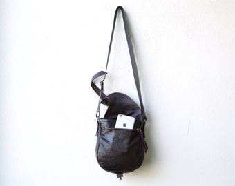 1903 CROSSBODY bag - small leather and waxed canvas bag - lightweight travel bag
