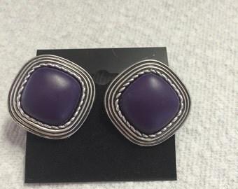 Purple Silver Tone Square Clip Earrings