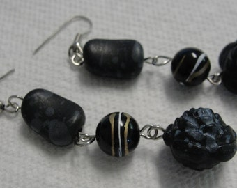 Black Rose Long Dangle Pierced earrings