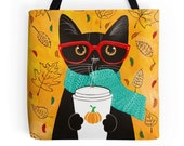 Autumn Coffee Cat - Whimsical Cat Folk Art Tote Bag