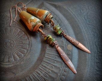 Porcelain Earrings, Kiyoi Design, Gaspeite, Gemstone, Daggers, Primitive,Organic, Rustic, Earthy, Beaded Earrings