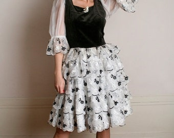 ON SALE Vintage Lolita Dress - Black and White Velvet Flower Ruffle Party Dress - Medium