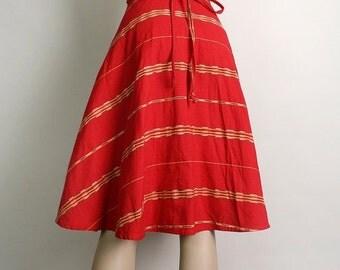 ON SALE Vintage Wrap Skirt - 1970s Guatemalan Woven Ethnic Cherry Red Cotton Skirt