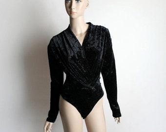 ON SALE Vintage Black Crushed Velvet Bodysuit - Black Catsuit - Draped Ballet Wrap Top - 1990s 1980s - Small Medium