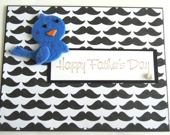 Bird and Mustache- Handmade Father's Day Greeting Card