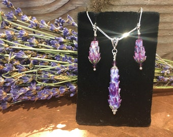 Lavender Glass Bead Jewelry Set