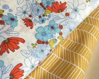 SALE fabric, Modern fabric, Hipster, Mustard fabric, Nursery fabric, Art Gallery, Joel Dewberry, Bundle of 2- Choose the Cut