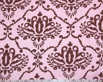 Leanika by Dena Designs for Free Spirit Fabrics Pink and Brown Damask Scroll Fabric FQ OOP RARE Destash