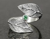Emerald leaf ring in sterling silver - elf pixie tribal boho