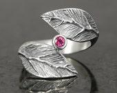 Pink tourmaline leaf ring in sterling silver - elf pixie tribal boho