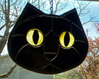 Stained Glass Black Cat Face Bright Yellow Eyes Suncatcher