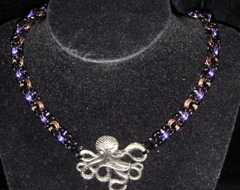 Octopus Chainmail Necklace Black/Purple/Bronze