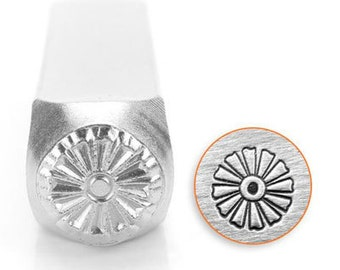 ImpressArt Metal Design Stamp, 6mm Daffodil Floral Design Jewelry Leather Wood PMC